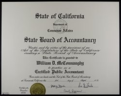 State Board of Accounting Certificate